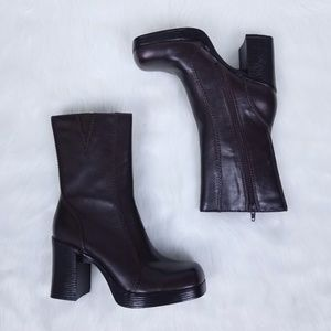 Lower East Side | Chunky Heel Burgundy Boots